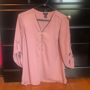 Blush/pink zip shirt